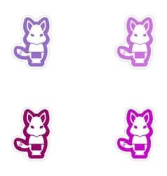 Set of paper stickers on white background fox vector
