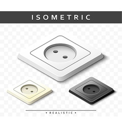 Set of realistic electric outlets in isometric vector