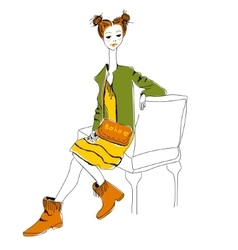 Young red-haired girl with little bag in boho vector