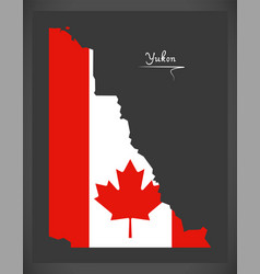 Yukon canada map with canadian national flag vector