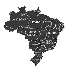 Brazil map with labels black vector image