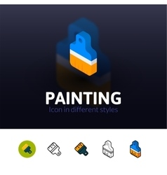 Painting icon in different style vector