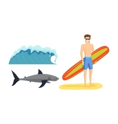 Surfing boy vector
