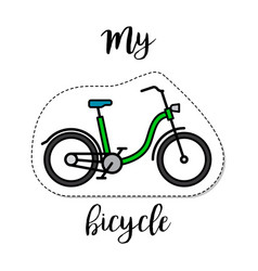 fashion patch element bicycle vector image