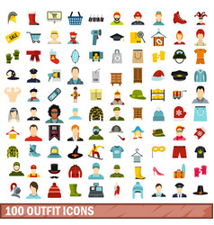 100 outfit icons set flat style vector