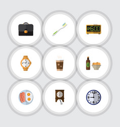 Flat icon life set of watch briefcase cappuccino vector