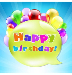Birthday Day Card With Colorful Balloons vector image
