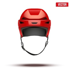 Classic red hockey helmet isolated on background vector