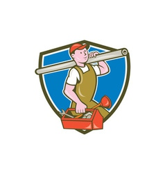 Plumber carrying pipe toolbox crest cartoon vector