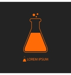 Orange flask as chemistry logo vector