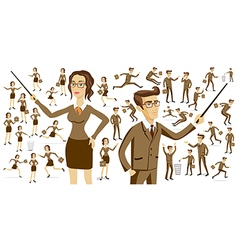 Set of working men and women sitting in their vector image