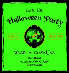 Halloween invitation cameo skull and crossbones vector