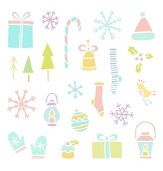 Set of hand drawn christmas objects vector