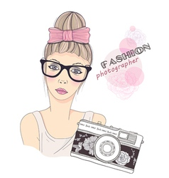 Fashion girl photographer vector