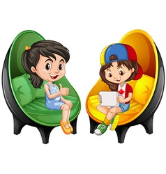 Two girls sitting on chairs vector