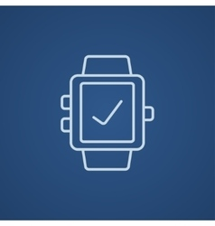 Smartwatch with check sign line icon vector