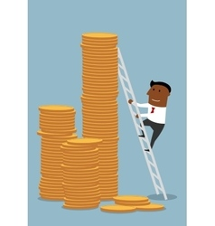Businessman climbing up to stacks of golden coins vector image
