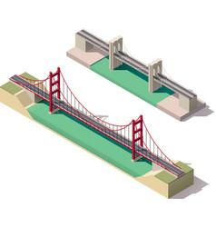 isometric suspension bridge vector image