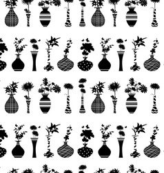 Seamless texture with rows of variety modern vases vector