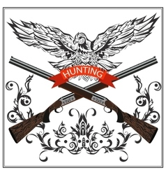 Hunting emblem eagle decorative tape gun vector image