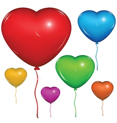 Heart baloon color set vector