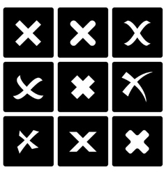 black rejected icon set vector image vector image