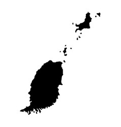 Black silhouette country borders map of grenada vector