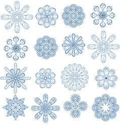 Blue circular ornament set vector