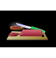 Bun sausage sandwich on a black background vector