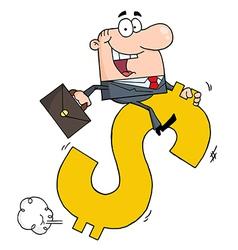 Businessman Riding On A Dollar Symbol vector image vector image