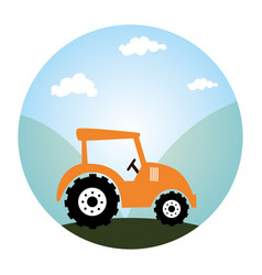 Circular landscape and tractor vehicule vector