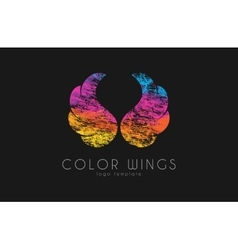 color ginws logo wings in grunge style creative vector image
