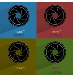 Color set photo camera diaphragm flat modern web vector