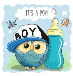 Cute cartoon owl boy vector