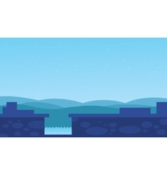 Dam water with hills backgrounds vector
