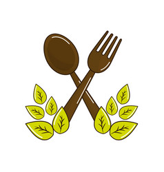 Fork and spoon kitchen tools with leaves vector