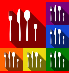 Fork spoon and knife sign set of icons vector