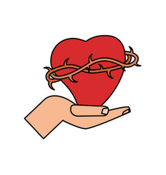 Hand with sac heart catholicism vector