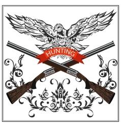 Hunting emblem eagle decorative tape gun vector