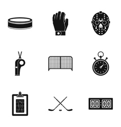 Ice fight icons set simple style vector image