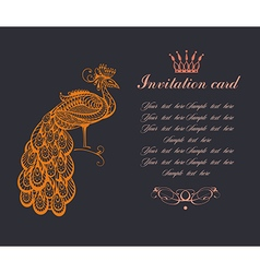 Invitation with Peacock vector image vector image