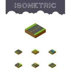 Isometric road set of navigation sand plash vector