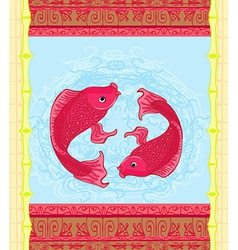 Japanese koi fish or chinese carp card vector