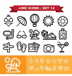 Line icons set 14 vector image