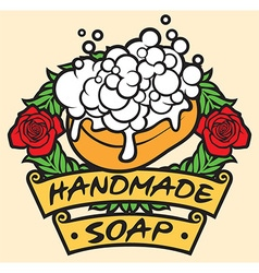 Natural handmade soap label handmade soap with vector