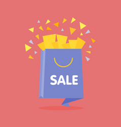 origami style flat open sale bag with confetti vector image