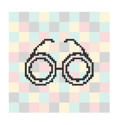 pixel icon glasses on a square background vector image vector image