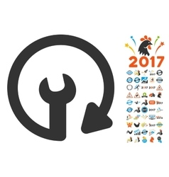 Repeat service icon with 2017 year bonus symbols vector