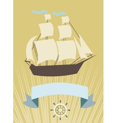 Sailboat with banner for your message vector image vector image