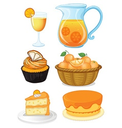 Set of orange desserts and juice vector image vector image